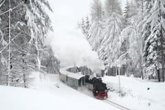 Train de vapeur pilotant par les bois neigeux Images stock