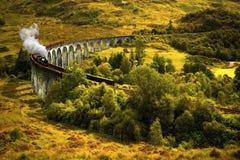 Train de vapeur sur le viaduc Photo libre de droits