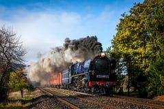 Train de vapeur, Woodend, Victoria, Australie, août 2017 photos stock