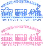Train Decal. Vector illustration of a toy train and slogan with a childs pattern s a background. Ideal for a decal or childrens clothing Stock Photography