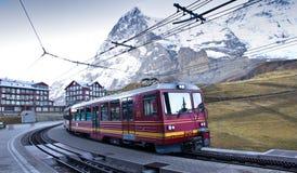 Train depart Kleine Scheidegg station Royalty Free Stock Image