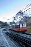 Train depart Kleine Scheidegg station Royalty Free Stock Photos