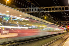 A train departed from Feldkirch station Stock Photo