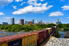 Train departing Richmond. royalty free stock photography