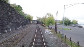 A Train Departs Hudson Station. In New York State and travels alongside the Hudson River hd, 25fps stock footage