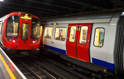 Train departs from  the King's Cross St.Pancras underground station in London. Stock Photos