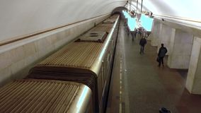 Train departs from Moscow metro station Kurskaya ring . February, 16, 2016. Train departs from Moscow metro station Kurskaya (ring). February, 16, 2016 clip stock footage