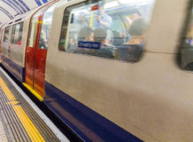 Train departs from the South Kensington Metropoliten and District Railway station Royalty Free Stock Photography