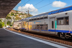 Train departs from station. Royalty Free Stock Image