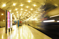 Train departs from the station. Stock Image