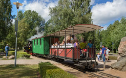 Train departs the station. royalty free stock image