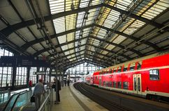 Train departure. Train departing in Berlin train station royalty free stock photo
