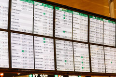 Train Departure And Arrivals Information Board In Barcelona Station Stock Photos