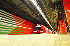 Underground platform train station in Hamburg city Stock Images