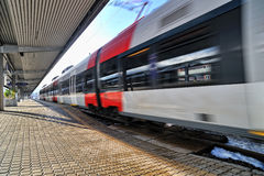 Train departure from Innsbruck train station Royalty Free Stock Photography