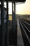 Train Departure in the Morning Light Royalty Free Stock Photography