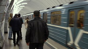 Train departure at the Moscow metro from station Shelkovskaya. Moscow, Russian Federation - March 07, 2015: Train departure at the Moscow metro from station stock video
