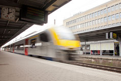 Train departure. From platform in station stock image
