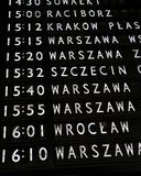 Train departures board. In Warsaw main train station Royalty Free Stock Images