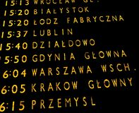 Train departures board. Trains departures board at the main train station in Warsaw Stock Photos