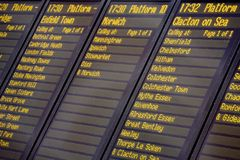 Train departures board. A train departures board and timetable, Liverpool Street railway station, London UK Royalty Free Stock Photo