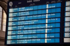 Train departures schedule /timetable in Budapest, Hungary Royalty Free Stock Image