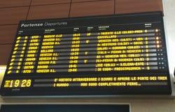 Train departures timetable Stock Photo