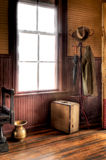 Train Depot. Coat rack, window, spitton Stock Photography