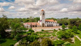 Train Depot in Boise and City park with clouds in the sky Royalty Free Stock Photo