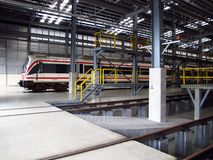 Train in depot of electricity train . Stock Photo