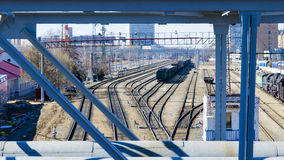 The train depot. Freight train on the tracks depot Royalty Free Stock Photos