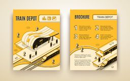 Train depot isometric vector brochure template royalty free illustration