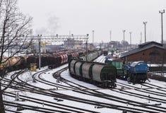 Train depot in Klaipeda Stock Photography
