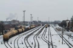 Train depot in Klaipeda Royalty Free Stock Image