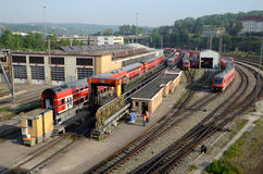 Train depot and wash wagons. Some wagon in a train depot on industrial zone in Ulm - Germany Stock Photo