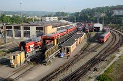 Train depot and wash wagons stock photo
