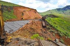 Train derailment. Due to barrier fall in area close the flood disaster in Rio de Janeiro Royalty Free Stock Photos