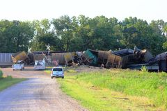 Train derailment near Silverlake, Kansas Royalty Free Stock Photo