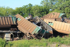 Train derailment near Silverlake, Kansas Royalty Free Stock Images