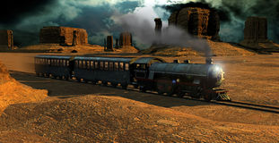 Train in the desert. Old steam train in Monument Valley Stock Photography