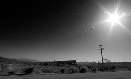 Train in the desert stock images