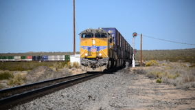 Train in the Desert. Freight Train in the Mojave Desert California stock video footage