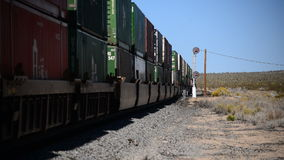Train in the Desert. Time Lapse of Freight Train in the Mojave Desert California stock video footage