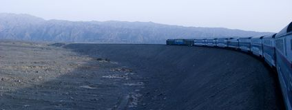 Train and desert. In xinjiang of china Stock Image