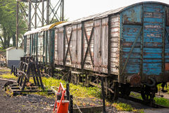 Train detail on railway track. With steam royalty free stock photos