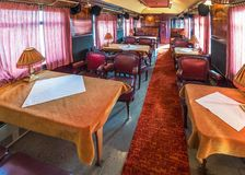 Train diner interior stock images