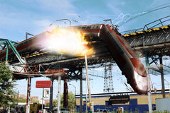 Train disaster. A passenger train falls of a bridge which crosses the city. The locomotive falls at first, breaking rails and pulling  cars with it Stock Photography
