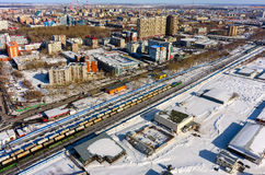 Train between districts of Tyumen city. Russia Stock Images