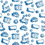Train doodle seamless pattern Royalty Free Stock Images