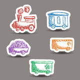 Train doodle stickers Royalty Free Stock Photo